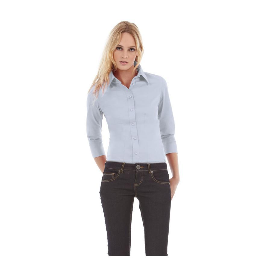 6be2bd274726 Рубашка женская Milano с рукавом 3/4, цвет корпоративный голубой, арт. 7611