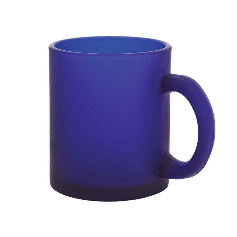 Кружка стеклянная матовая, синяя#