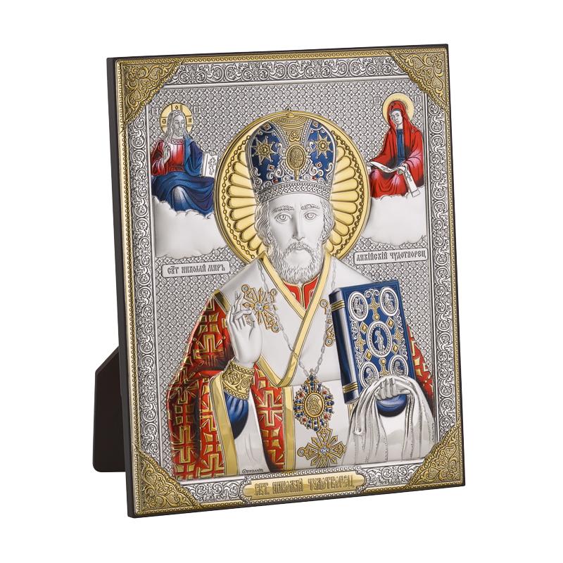Икона Николая Чудотворца Цвет серебристый с красным