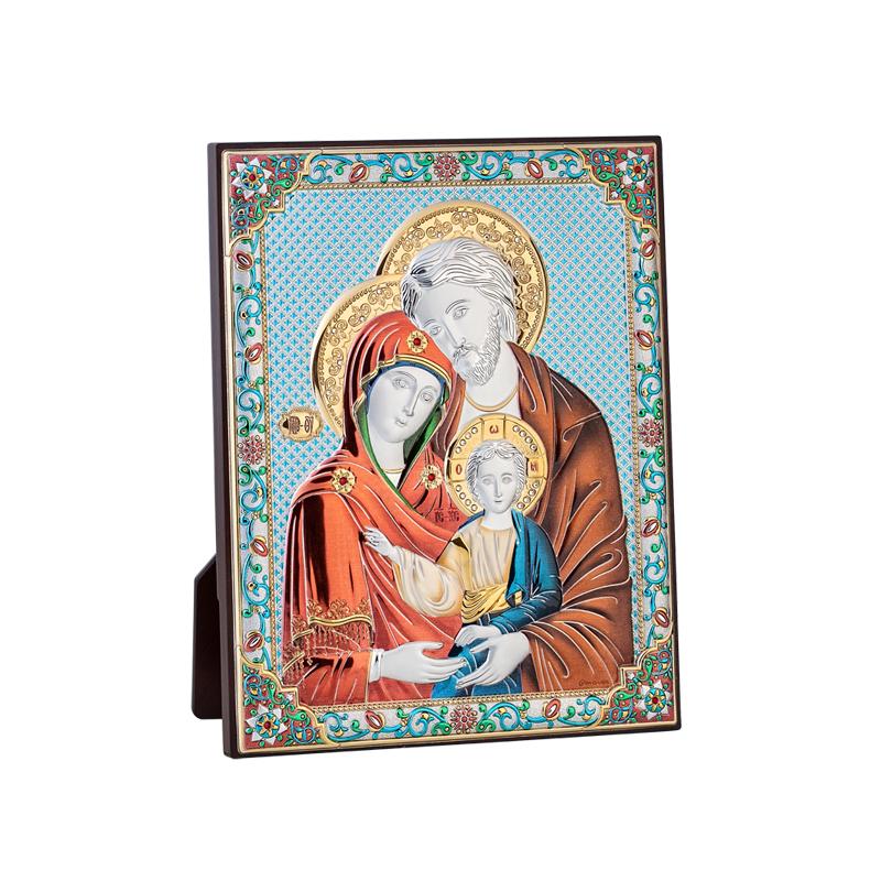 Икона Святого Семейства Цвет золотистый с серебром