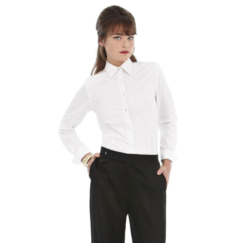 Рубашка женская с длинным рукавом Heritage LSL/women Цвет темно-красный Цвет белый Размер M