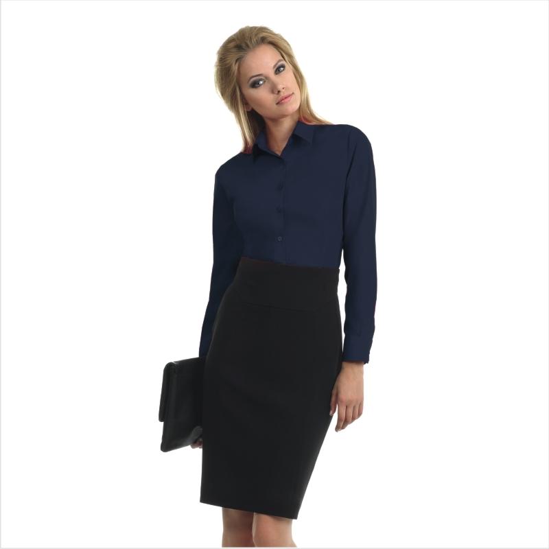 Рубашка женская с длинным рукавом Smart LSL/women Цвет корпоративный голубой Размер L Цвет темно-синий Размер M