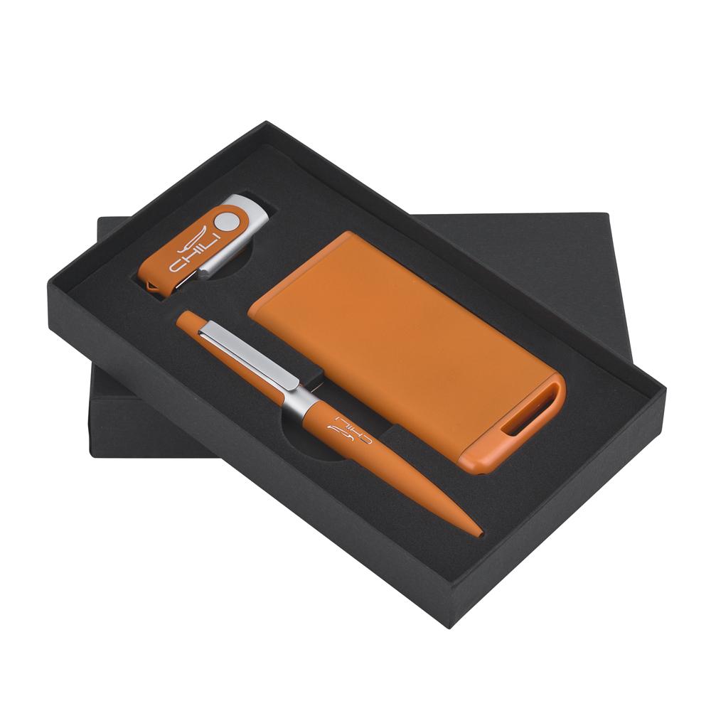 Набор ручка + флеш-карта 16Гб + зарядное устройство 4000 mAh в футляре, покрытие soft touch