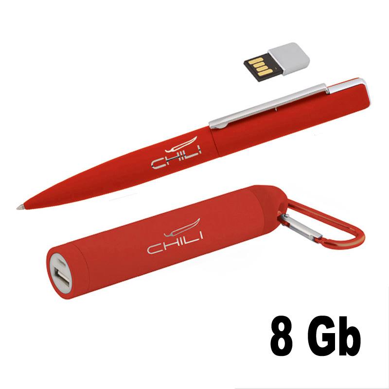 Набор ручка c флеш-картой 8Гб + зарядное устройство 2800 mAh в футляре, покрытие soft touch Цвет темно-синий Цвет черный Цвет красный