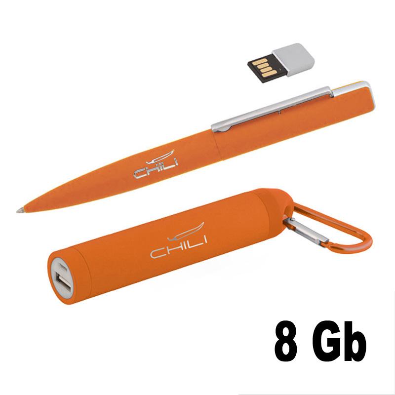 Набор ручка c флеш-картой 8Гб + зарядное устройство 2800 mAh в футляре, покрытие soft touch Цвет темно-синий Цвет черный Цвет красный Цвет оранжевый