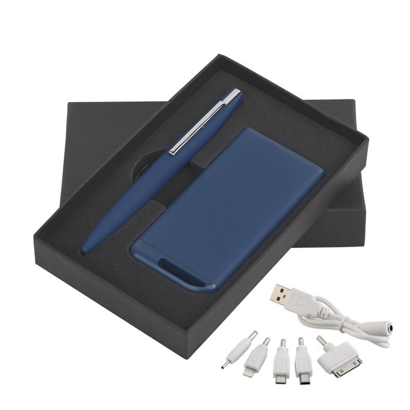 Набор ручка c флеш-картой 8Гб + зарядное устройство 4000 mAh в футляре, покрытие soft touch