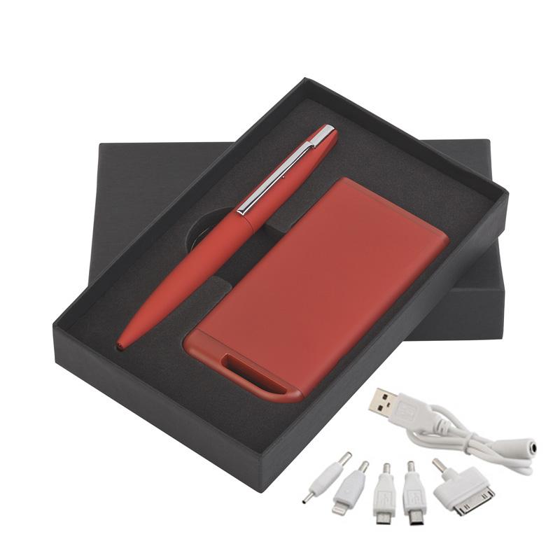 Набор ручка c флеш-картой 8Гб + зарядное устройство 4000 mAh в футляре, покрытие soft touch Цвет темно-синий Цвет черный Цвет красный