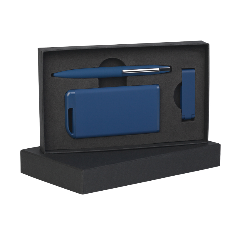 Набор ручка + флеш-карта 8Гб + зарядное устройство 4000 mAh в футляре, покрытие soft touch