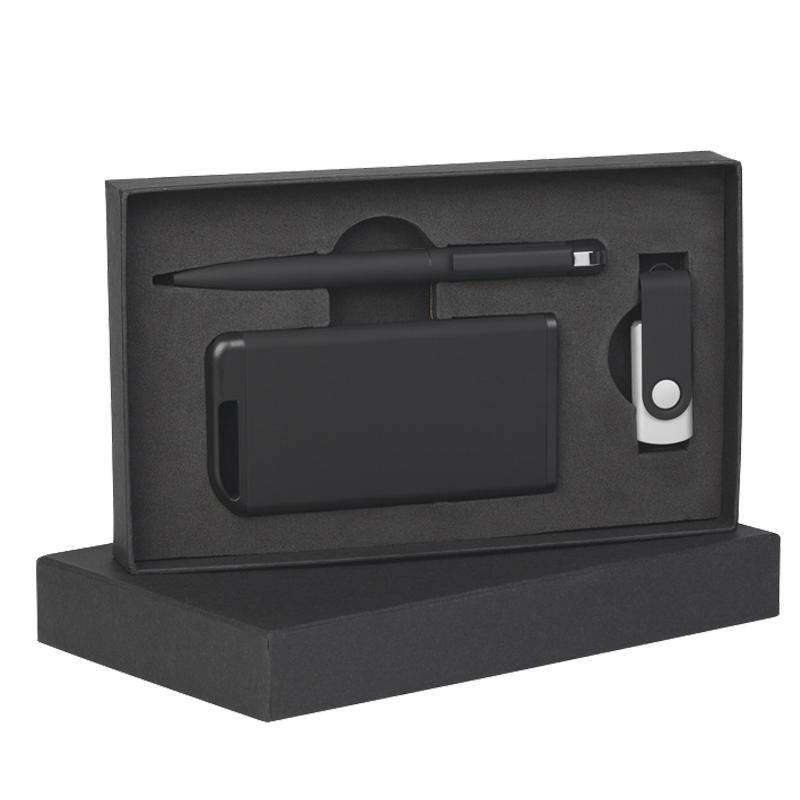 Набор ручка + флеш-карта 8Гб + зарядное устройство 4000 mAh в футляре, soft touch
