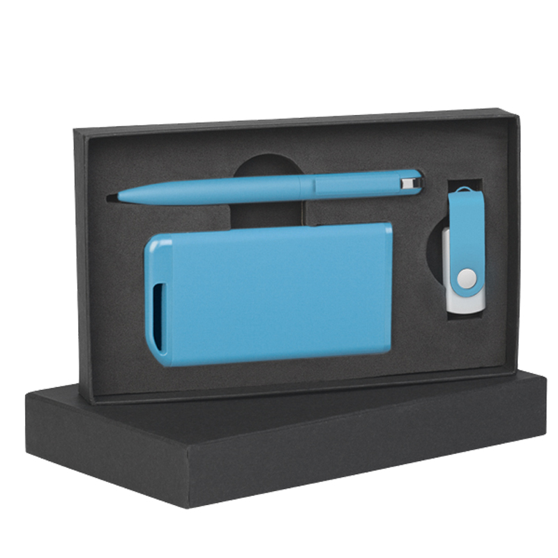 Набор ручка + флеш-карта 16Гб + зарядное устройство 4000 mAh в футляре покрытие soft touch