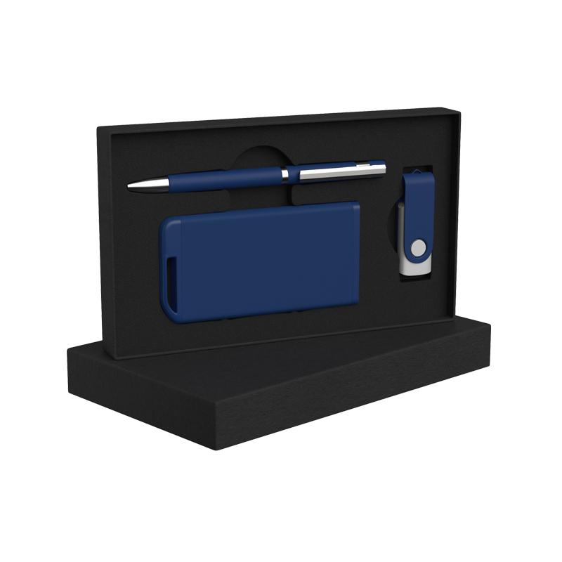 Набор ручка + флеш-карта 16Гб + зарядное устройство 4000 mAh в футляре, soft touch
