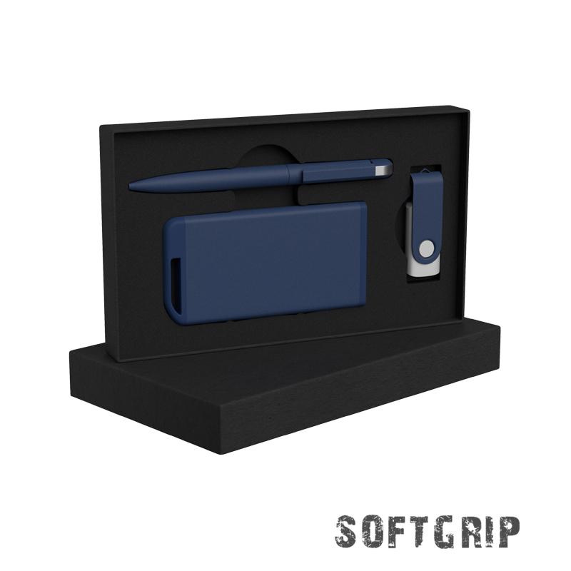 Набор ручка + флеш-карта 16Гб + зарядное устройство 4000 mAh в футляре, softgrip