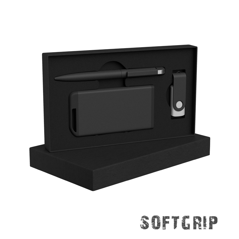 Набор ручка + флеш-карта 8Гб + зарядное устройство 4000 mAh в футляре, softgrip