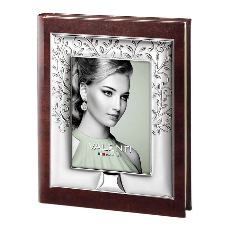 Фотоальбом с рамкой для фото на обложке, кожаный, коричневый 20х30 см