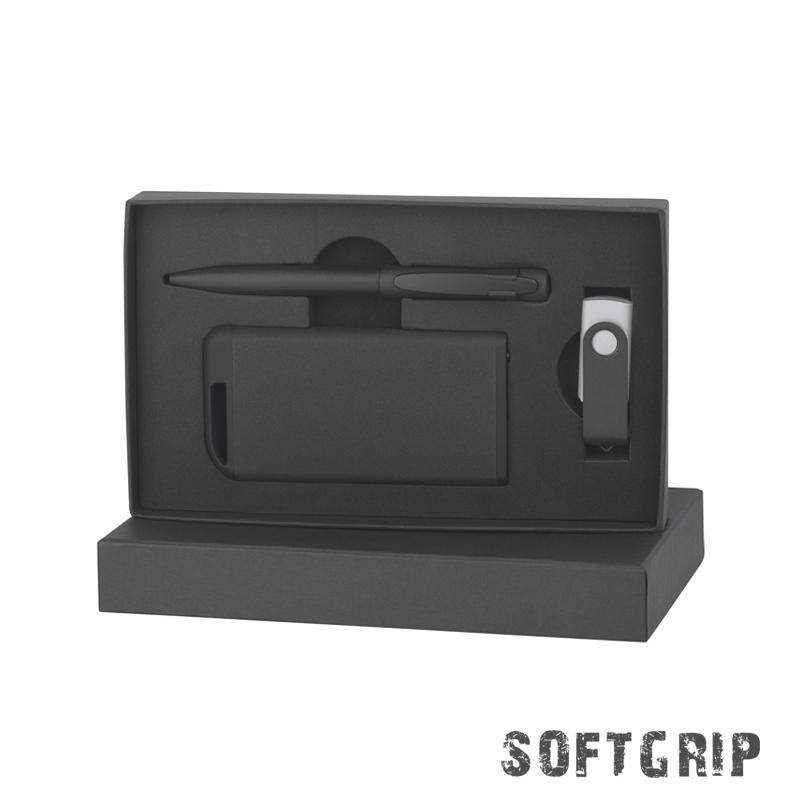 Набор ручка + флеш-карта 8Гб + зарядное устройство 4000 mAh в футляре, покрытие softgrip