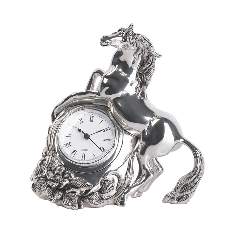 Часы каминные с лошадью, посеребрение, h 20 см