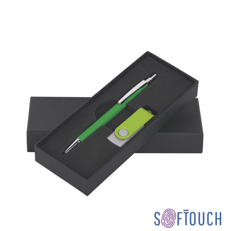 Набор ручка + флеш-карта 16 Гб в футляре, покрытие soft touch