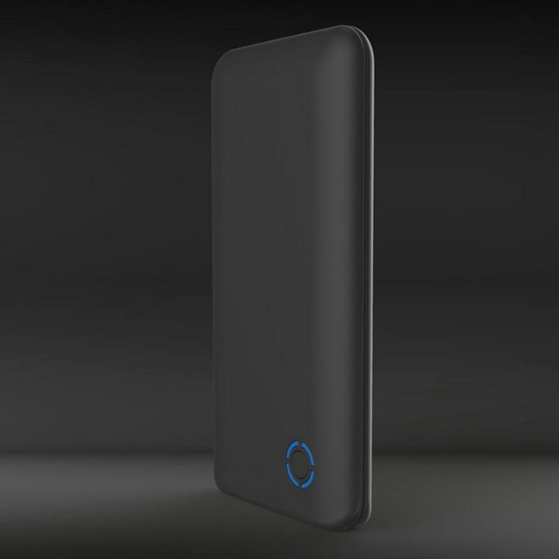 Беспроводное зарядное устройство, 6000 mAh, черный, покрытие soft touch