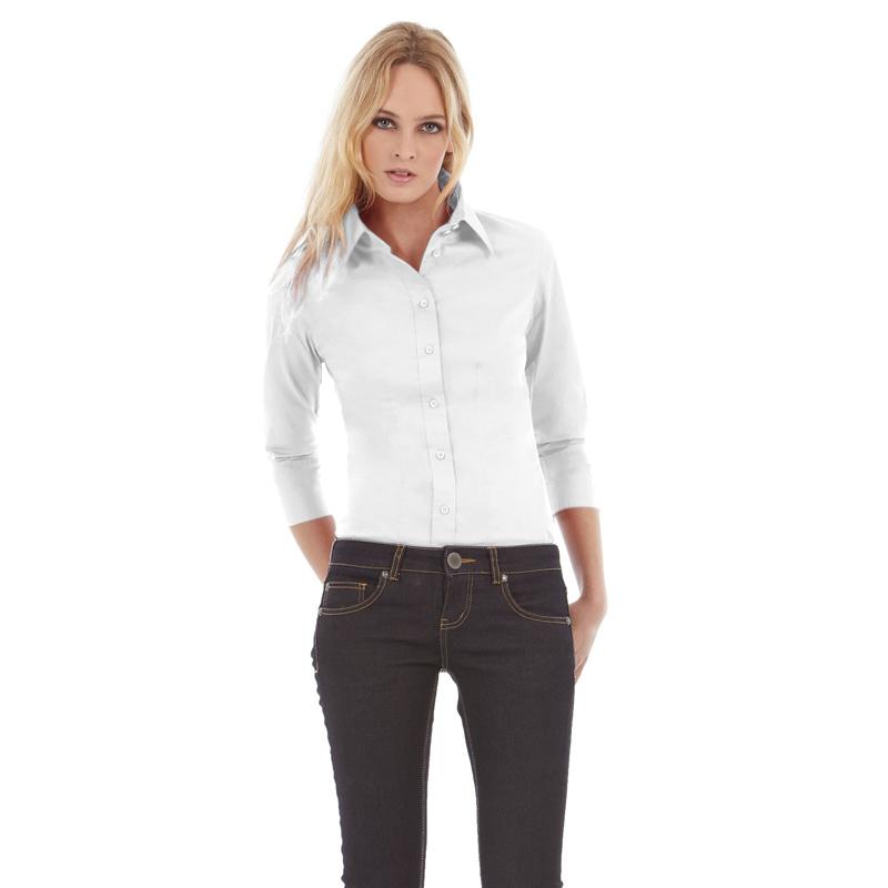 Рубашка женская Milano с рукавом 3/4 Цвет корпоративный голубой Размер M Цвет белый Размер M