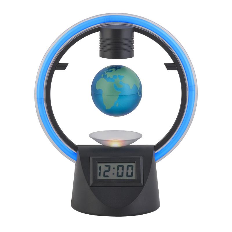 Настольные часы с неоновой подсветкой и левитирующим глобусом d 6 см, цвет черный